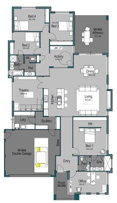 My opinion - excellent design. Love the rear bedroom layout. I don't think the main ensuite should be shared with guests so I would add a guest toilet to the scullery area. House Plans One Story, Family House Plans, Dream House Plans, House Floor Plans, House Makeovers, Architectural Floor Plans, Guest Toilet, Natural Building, Australian Homes