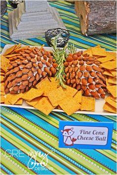 Woodland themed party food - Pine cone cheeseball www.spaceshipsandlaserbeams.com