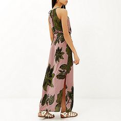 Pink floral print 90s waisted maxi dress - £40 #RiverIsland