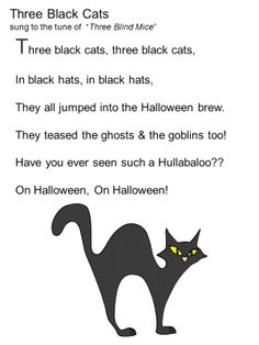 Halloween songs for children - Three Black Cats. Halloween Poems For Kids, Halloween Activities, Halloween Themes, Halloween Songs Preschool, Halloween Songs For Preschoolers, Halloween 2020, Easy Halloween, Halloween Crafts, Halloween Party