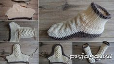 Diy Crafts - Make these super soft cozy slippers using a free knitting pattern in English and Russian languages. This is a great pattern whether you w Knitting Patterns Free, Knit Patterns, Free Knitting, Baby Knitting, Knit Slippers Free Pattern, Knitted Slippers, Knitting Socks, Homestead Survival, English