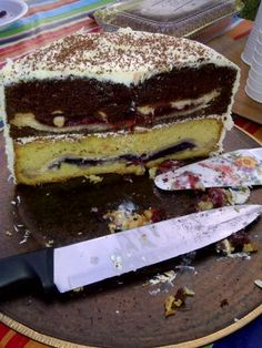 Piecaken Cherpumple Chocolate with Strawberry / Blueberry with White cake I made this year 2012
