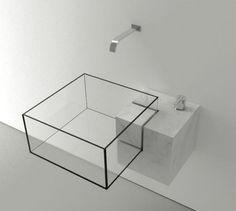 vasque murale minimaliste,cube en verre et robinet encastré, juste magnifique!!!!!