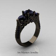 Klassieke 14K zwart goud drie stenen Black Diamond door artmasters