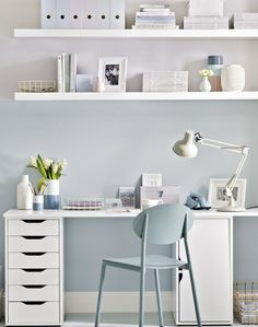 Where pastel's king; modern home office @theROOMedit