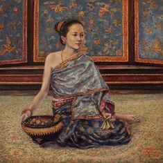 Luang Prabang Painting - Maiden Of The Inner Palace by Sompaseuth Chounlamany Traditional Dresses, Traditional Art, Laos Culture, Thailand Art, Thai Fashion, Anatomy Sketches, Thai Dress, Luang Prabang, Thai Art