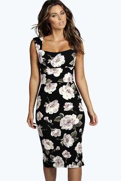 Suzie Floral Sweetheart Midi Dress
