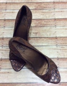 9eb55b214fc4 Carlos Santana High Heels Redemption Open Toe Brown Party Shoes 9 1 2m   Carlos  OpenToe