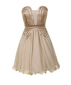 Cream and rose gold prom dress