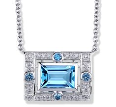 Pauline necklace with a blue topaz baguette, blue sapphire accents and diamond pavé in 14K white gold. [Jane Taylor Jewelry - easy to wear, stylish, and uncomplicated jewelry designs | Rosebud Necklaces]