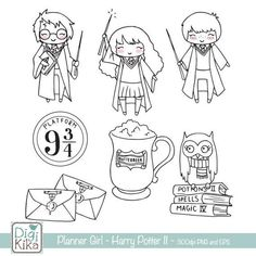 Planner Girl - Wizard School II Clipart - Harry P Inspired - Planner Stickers, scrapbook , card design, invitations, paper crafts Wizard Drawings, Harry Potter Coloring Pages, Classe Harry Potter, Doodle People, Wizard School, Cartoon Coloring Pages, Printable Planner Stickers, Bullet Journal Inspiration, Digi Stamps