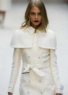 White burberry coat. Cara D.