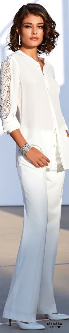 White shirts, trousers, and heels. Elegant women fashion outfit clothing style apparel @roressclothes closet ideas