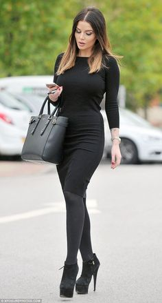 Helen Flanagan shows off dip dye hairstyle and goes for heavy make-up Fashion Boots, Girl Fashion, Womens Fashion, Matilda, Black Tights, Black Boots, Helen Flanagan, Blonde Tips, Dip Dye Hair