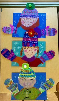 Winter collage self portrait january crafts, january art, winter art projects, classroom crafts Winter Art Projects, Winter Crafts For Kids, School Art Projects, Winter Fun, Winter Theme, Art For Kids, Preschool Winter, Winter Ideas, Winter Hats