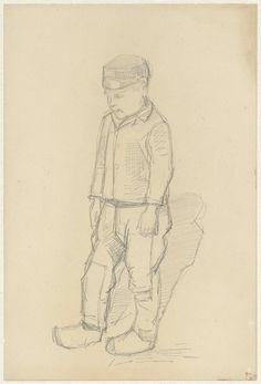 Staand jongetje met pet, Jozef Israëls, 1834 - 1911