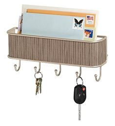 mDesign Mail, Letter Holder, Key Rack Organizer for Entryway, Kitchen - Wall Mount, Pearl Champagne: Amazon.co.uk: Kitchen & Home