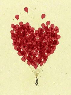 Heart, coração, love, balão, ballon, red