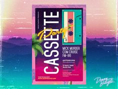 """Check out my @Behance project: """"Cassette Party Retro 80's Synthwave Flyer Template"""" https://www.behance.net/gallery/51792675/Cassette-Party-Retro-80s-Synthwave-Flyer-Template"""