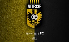 Download wallpapers SBV Vitesse, FC, 4K, Dutch football club, leather texture, Vitesse logo, emblem, Eredivisie, Arnhem, Netherlands, football, Dutch Football Championship
