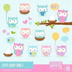CUTE BABY OWLS - Digital Clipart Set, Imagenes Buhos, Baby Shower Clipart.