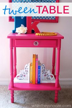 While They Snooze: Tween Girl Side Table - Dumpster Dive Before and After