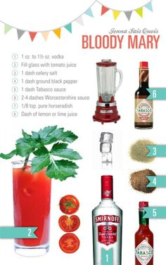Bloody Mary how to! Party Drinks, Cocktail Drinks, Fun Drinks, Yummy Drinks, Cocktail Recipes, Alcoholic Drinks, Margarita Recipes, Summer Cocktails, Beverages
