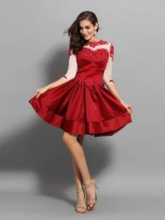 9a2136da450 2019 Short Homecoming Dresses A-Line High Neck Satin Red