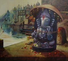 GANESHA - ArtVault Shiva Art, Ganesha Art, Hindu Art, Shri Ganesh, Durga, Hindu Deities, Hinduism, Composition Painting, Lord Ganesha Paintings