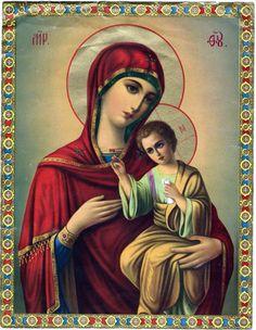 Digital image Virgin Mary Baby Jesus Icon Antique Lithoprint Beautiful colors by gatonegro1 on Etsy