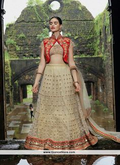 Glamorous Net Embroidered Work A Line Lehenga Choli