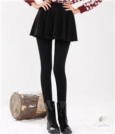 Sweet Winter Thicken Ruffle Elastic Leggings With Skirt For Women