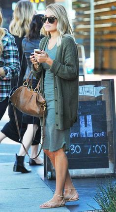 For a warm-weather fall outfit, copy Lauren Conrad's monochrome look of green t-shirt dress and olive cardigan. Click for more of her very best outfits