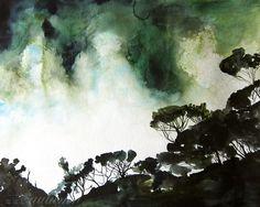 tropical+watercolors   ... Tropical Landscape Painting - Original Watercolor - 16x20. $542.40