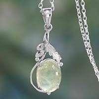 Sterling Silver Necklace with Prehnite Leafy Pendant - Mystic Treasure Wire Jewelry, Jewellery, Sterling Silver Necklaces, Mystic, Artisan, Jewelry Design, Gems, Pendant Necklace, Crystals