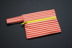 "Coin Purse Wallet Zipper Pouch, Chevron Red White and Yellow Interior, For Debit/Credit Cards & Cash. 4.25"" wide x 3"" tall. Gift Card Holder by StuffByPamela on Etsy"