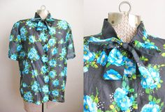 1960s Blouse Vintage 60s Blouse Sheer Bow Collar Blue Floral / Extra Large XL XXL by SoubretteVintage on Etsy