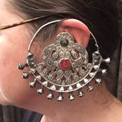 "An astonishing old pair of ear ornament from Turkménistan...silver, glas, gildings...very soon on my site www.halter-ethnic.com...will to be seen under the item ""My Lucky Finds""!"