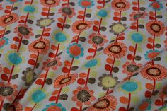 Stenzo17 3607-13 Tricot bloemen wit/oranje/geel/turquoise floral print white orang yellow and blue fabric stretch cotton