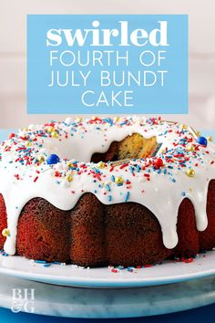 Here's the Fourth of July dessert recipe you've been looking for to make the celebration extra festive. Swirl America's colors in the cake batter and don't forget the festive sprinkles. Fourth Of July Cakes, Fourth Of July Food, Gel Food Coloring, Cream Cheese Icing, Eat Dessert First, Piece Of Cakes, Cake Batter, Dessert Recipes, Desserts