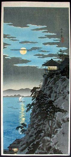 """""""Moon at Ishiyama, Lake Biwa"""" by Hiroaki, Takahashi"""