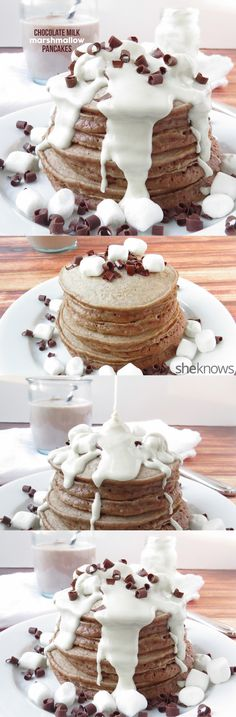 Satisfy your sweet tooth at breakfast with these chocolate milk marshmallow pancakes. Easy, delicious, and chocolate. What more you could you want for breakfast. Breakfast Pancakes, Pancakes And Waffles, Breakfast Dishes, Breakfast Recipes, Dessert Recipes, Breakfast Ideas, Brunch Ideas, Dessert Ideas, Pancakes Easy