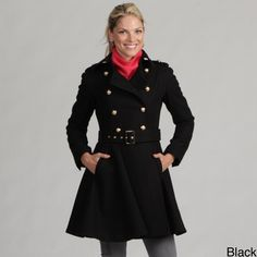 $179.99 Pretty in black too. Miss Sixty Women's Double-breasted Military Wool Coat     Overstock.com