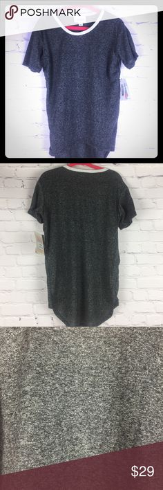 Unisex Gracie High-Lo Tee heathered Grey w/White 4 Dark heathered Grey with white trim around neckline...The unisex LuLaRoe Gracie top, with its high-low hemline, makes it the perfect kids top to pair with anything, but it's especially great with leggings! It's loose fitting short sleeves will keep even the most active kid comfortable & cool. Easy to layer & versatile enough to dress up or down, the Gracie is sure to become a staple in your kids' closets. LuLaRoe Shirts & Tops Tees - Short…