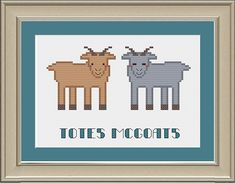 Hey, I found this really awesome Etsy listing at https://www.etsy.com/listing/181924311/totes-mcgoats-nerdy-goat-cross-stitch