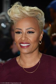 Emeli Sande, love the cut & color with her skin color. Work it.