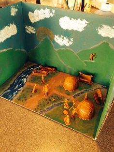 My Diorama of an Indian village 3rd Grade Social Studies, Teaching Social Studies, Hunter Elementary, Shoe Box Diorama, Projects For Kids, Project Ideas, Woodlands School, Native American Projects, Indian Project