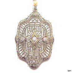 Vintage 14k White Gold Diamond Pendent Circa by JanesGemCreations