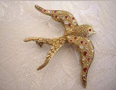 Vintage large sterling silver gold gilt swallow paste crystal brooch marked 925