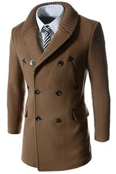 Knitted Lapel PU Leather Spliced Multi-Button Slimming Long Sleeves Woolen Blend Thicken Peacoat For Men
